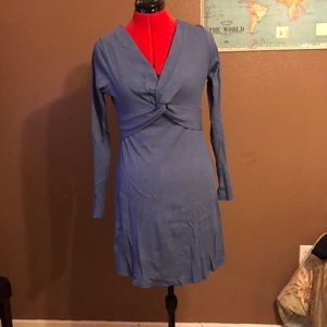 Blue long sleeve dress with twist top
